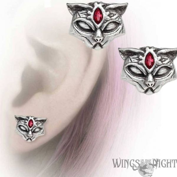 ALCHEMY GOTHIC Sacred Cat Stud Earrings (2)